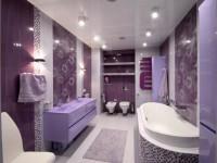 Фиолетовая ванная комната — правила сочетания и фото дизайна