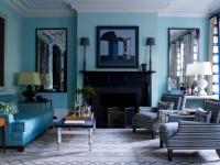Синяя гостиная — модный и стильный цвет дизайна (80 фото)