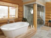 Ванная в деревянном доме — 35 фото идей дизайна