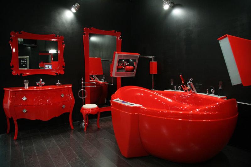 Красно-черная ванна дизайн