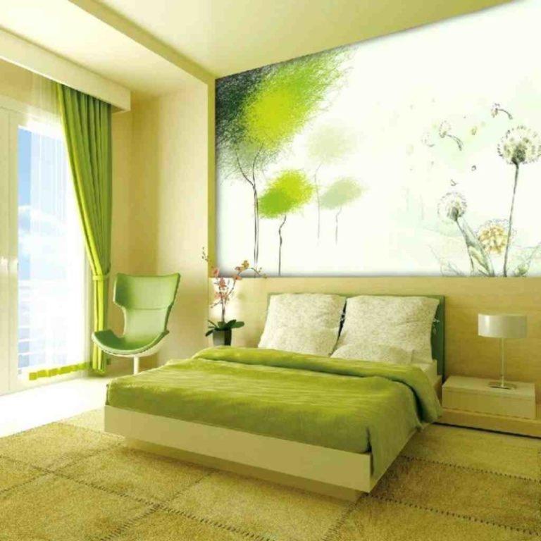 Фото зеленый интерьер спальни
