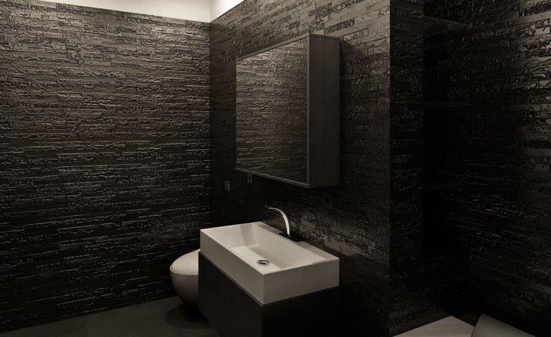 Дизайн черной плитки в ванной