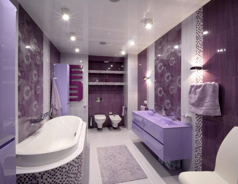 фото сиреневый ванная