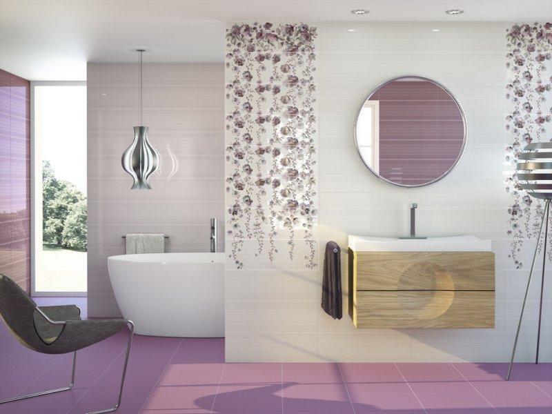 Фиолетовая плитка на пол для ванной комнаты дизайн