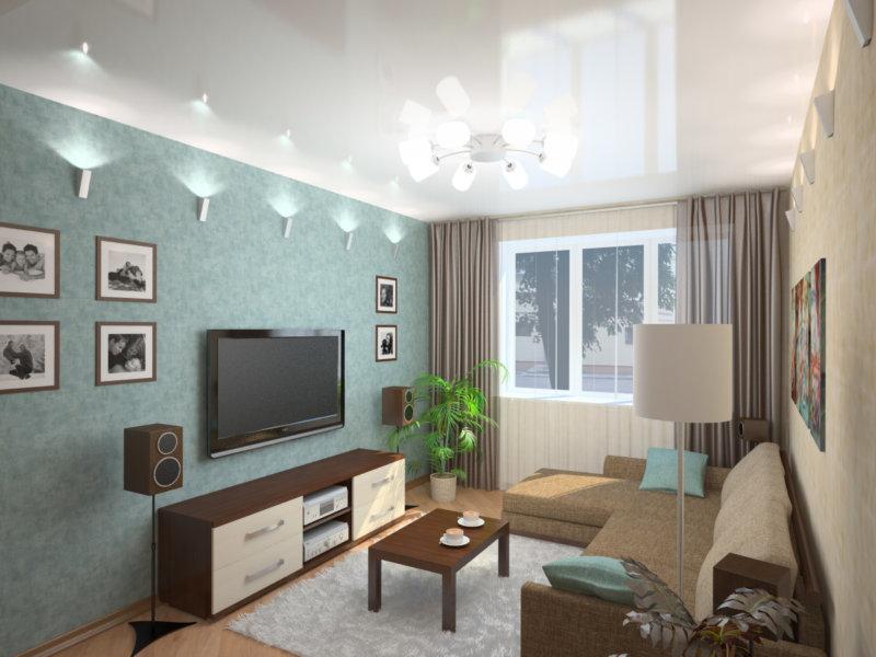 Дизайн 16 м гостиной