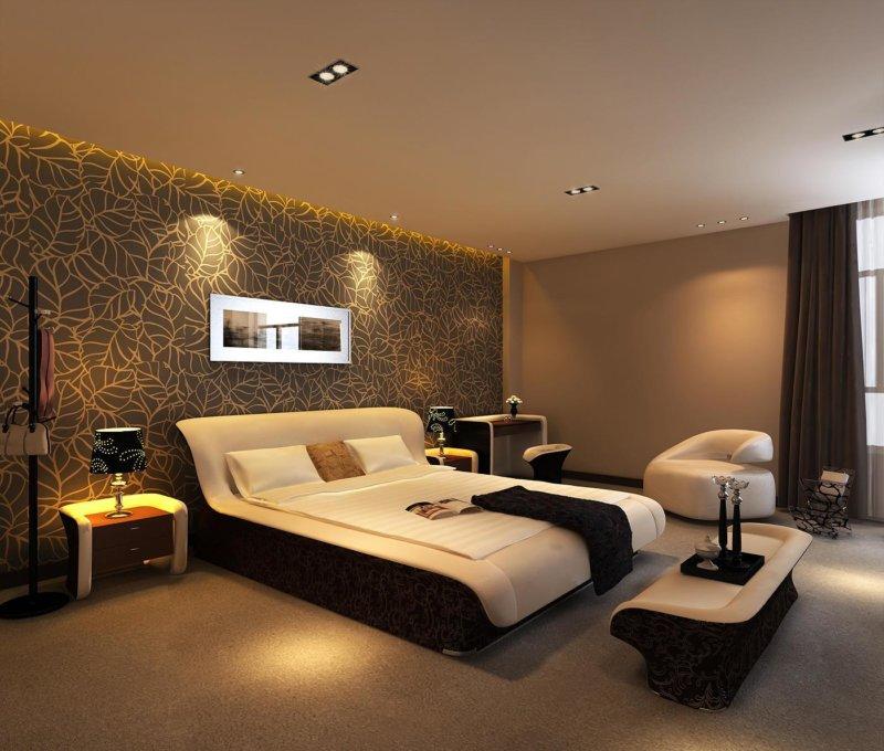 Дизайн спальни с коричневой кроватью