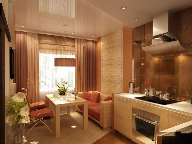 Дизайн интерьера кухня с диваном