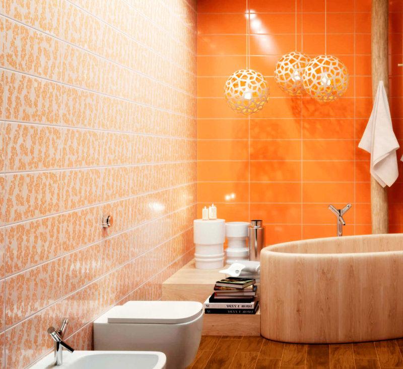 Оранжевая ванная комната - идеи сочетания дизайна (55 фото)