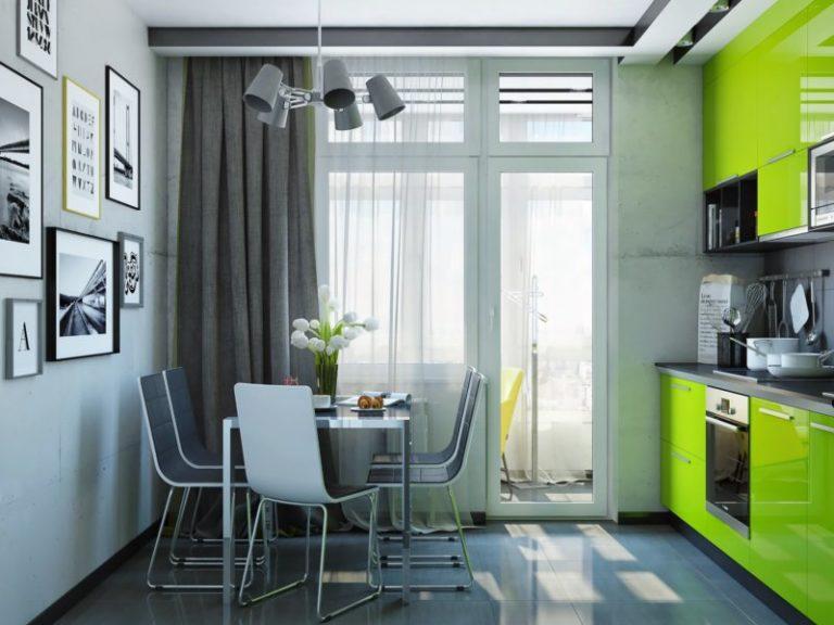 Серо зеленая кухня в интерьере