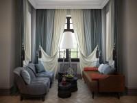 Двухцветные шторы в интерьере — 80 фото идей дизайна