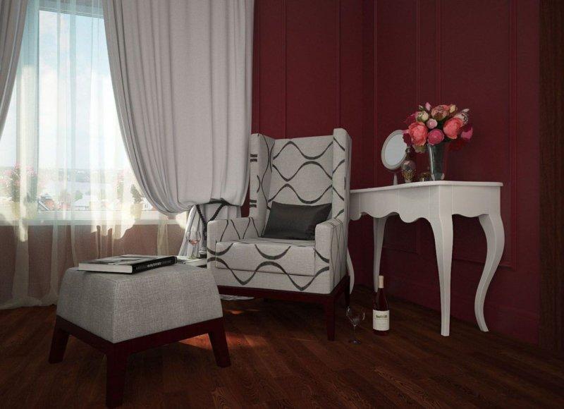 Бордовые стены в спальне
