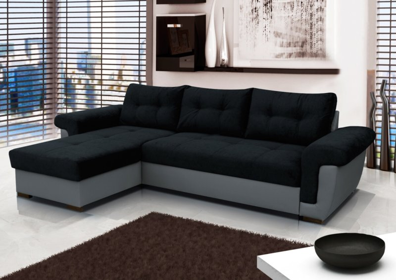 Фото модульных угловых диванов черного цвета боксера грушей