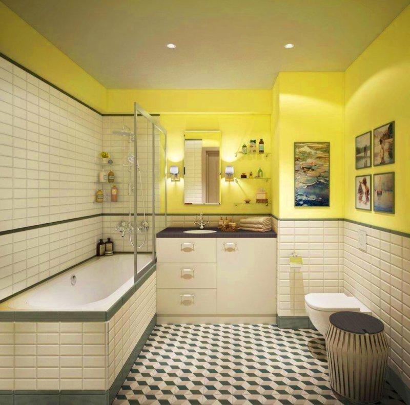 Ванна в желтом цвете фото