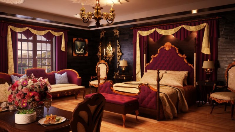 Спальня с бордовыми оттенками